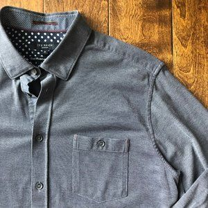 Ted Baker Gray Knit Button Down Shirt